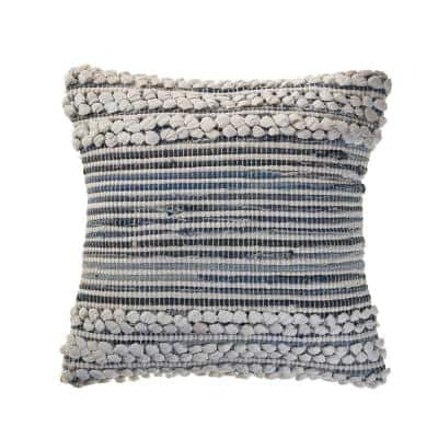 Crest Navy Blue / Ivory Abstract Textured Cozy Poly-Fill 18 in. x 18 in. Throw Pillow
