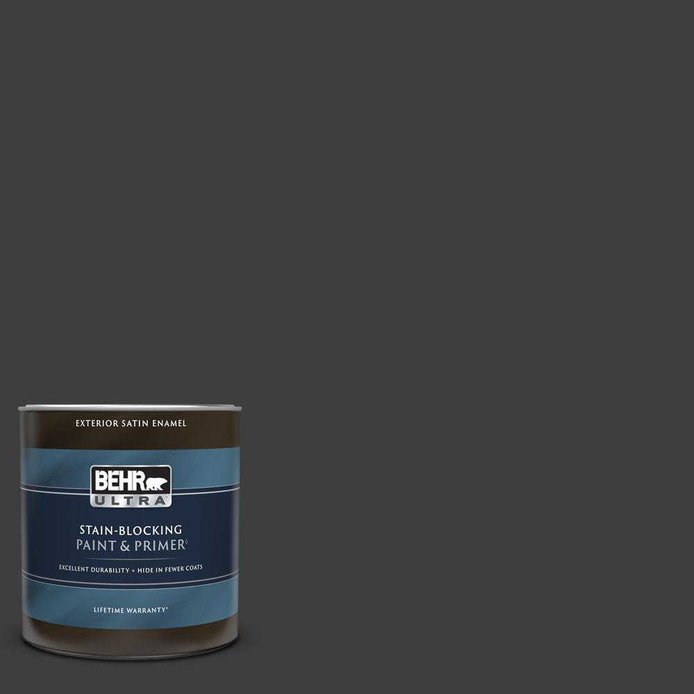 1 qt. #T13-3 Black Lacquer Satin Enamel Exterior Paint & Primer