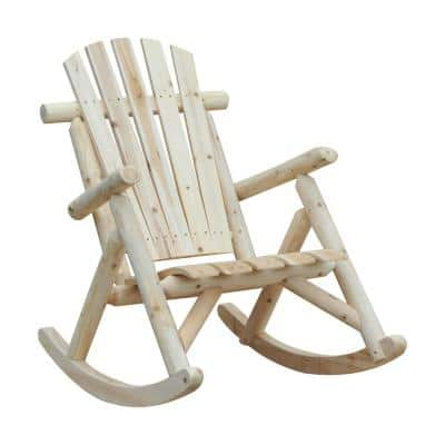 Wood Adirondack Outdoor Rocking Chair with Slatted Design and Oversize Back for Porch, Poolside, or Garden Lounging