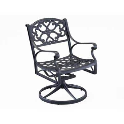Sanibel Black Swivel Rocking Cast Aluminum Outdoor Dining Chair