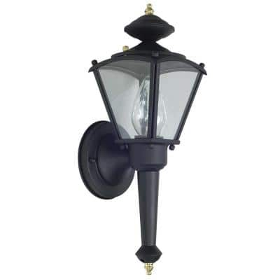 1-Light Black Outdoor Lantern Sconce with Clear Glass