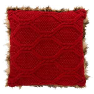 Randi Brown Faux Fur/Red Knit 20 in. x 20 in. Throw Pillow