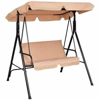 2-Person Metal Patio Swing with Beige Cushion