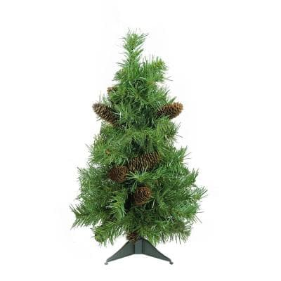 2 ft. x 17 in. Unlit Dakota Red Pine Full Artificial Christmas Tree with Pine Cones