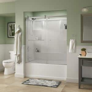 Simplicity 60 x 58-3/4 in. Frameless Contemporary Sliding Bathtub Door in Chrome with Clear Glass