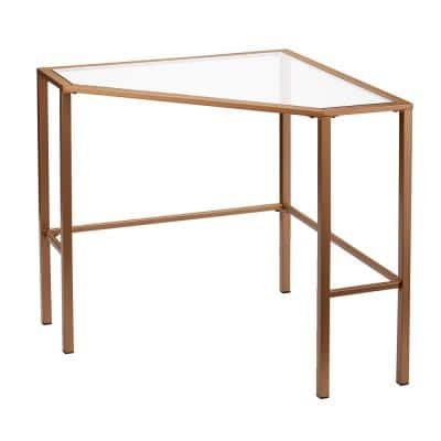 42 in. Corner Gold/Clear Writing Desks with Glass Top