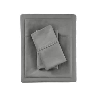 1000 Thread Count Heiq 4-Piece Charcoal Cotton Blend Solid Queen Anti-Microbial Sheet Set
