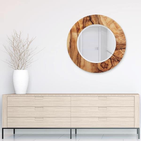 Empire Art Direct 36 In X, Wood Frame Round Mirror Ikea