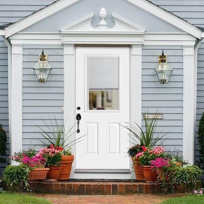 36 in. x 80 in. Premium Clear 1/2-Lite Mini-Blind Left Hand Inswing Primed Steel Prehung Front Door with Brickmold