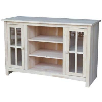 48 in. Unfinished Wood TV Stand Fits TVs Up to 50 in. with Storage Doors
