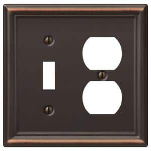 Ascher 2 Gang 1-Toggle and 1-Duplex Steel Wall Plate - Aged Bronze