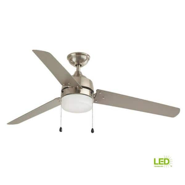 Home Decorators Collection Carrington 60 In Led Indoor Outdoor Brushed Nickel Ceiling Fan With Light Kit Yg419 Bn The Home Depot