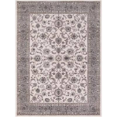 Kashan Collection Bergama Ivory Rectangle Indoor 9 ft. 3 in. x 12 ft. 6 in. Area Rug