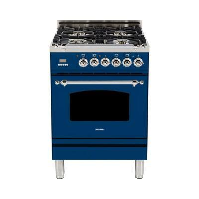 24 in. 2.4 cu. ft. Single Oven Dual Fuel Italian Range with True Convection, 4 Burners, Chrome Trim in Blue