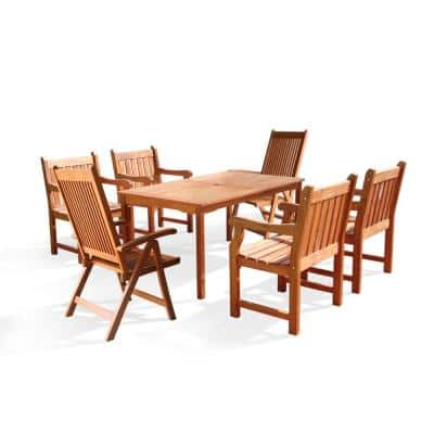 Roch Eucalyptus 7-Piece Patio Dining Set with 4 Slat-Back Armchairs and 2 Reclining Chairs