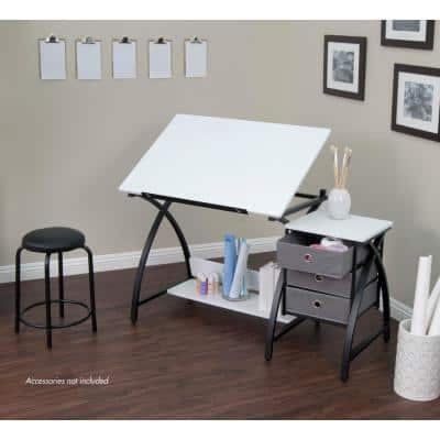 Comet 50 in. W x 23.75 in. D x 29.5 in. H Black/White MDF Craft Table with Adjustable Top 3-Pull-Out Drawers and Stool