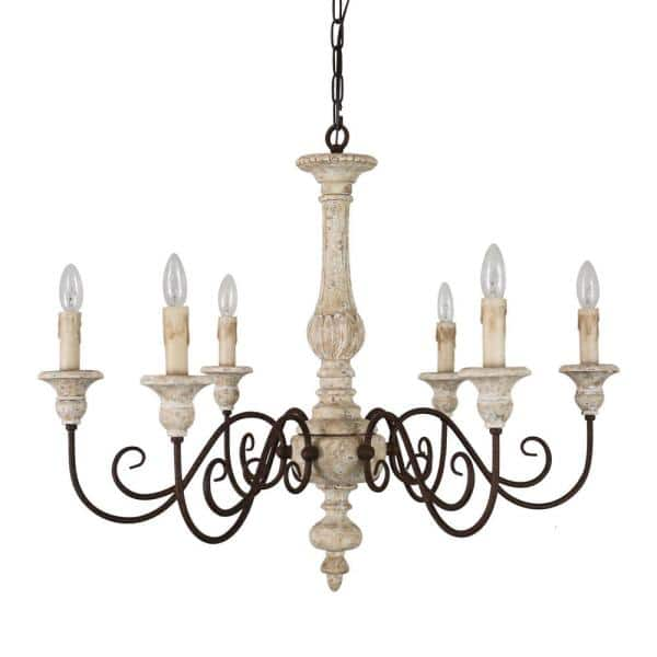 6 Light French Country Weathered Wood, Dining Room Chandeliers Home Depot