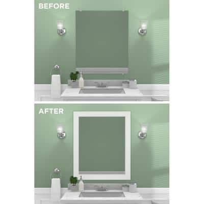 Decorative 30 in. x 36 in. Single Mirror Framing Kit for Bathrooms in White with Flat Frame