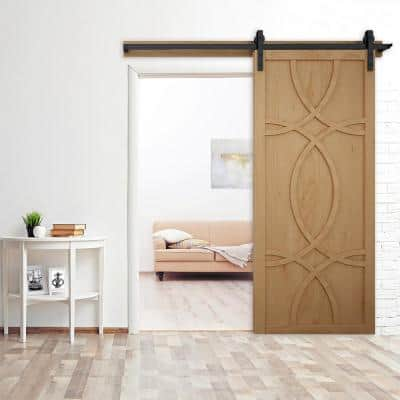 36 in. x 84 in. Hollywood Unfinished Wood Sliding Barn Door with Hardware Kit