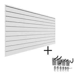 PVC Slatwall 8 ft. x 4 ft. White Mini Bundle (10-Piece)