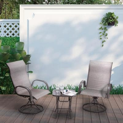 Grey 3-Piece Swivel Metal Outdoor Patio Bistro Set
