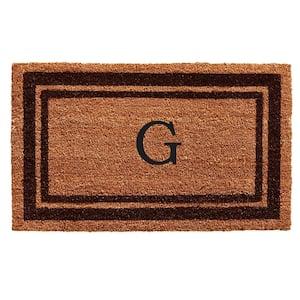 Brown Border Monogram Door Mat 24 in. x 36 in. (Letter G)