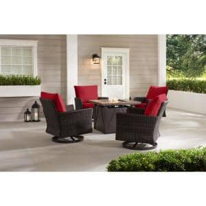 Lakeline 5-Piece Brown Metal Outdoor Patio Fire Pit Swivel Seating Set with CushionGuard Chili Red Cushions