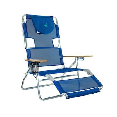 3-in-1 Blue Aluminum Folding Beach Chair