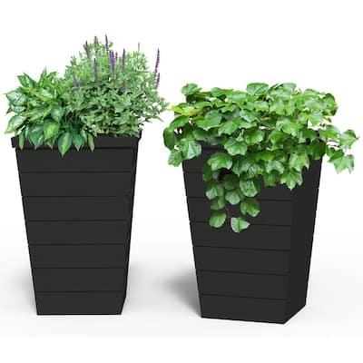 Tapper Anthracite Resin Planter (2-Pack)