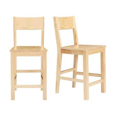 Lincoln Unfinished Wood Counter Stool with Square Back (Set of 2) (20.32 in. W x 38.61 in. H)