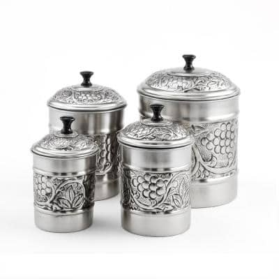"""4-Piece Antique Pewter Embossed """"Heritage"""" Canister Set"""