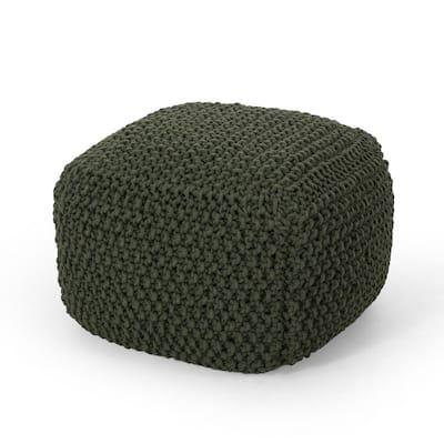 Teresa Green Cube Knit Pouf