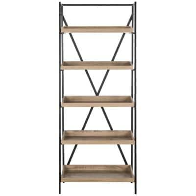 63 in. Light Brown/Black Metal 5-shelf Etagere Bookcase with Open Back