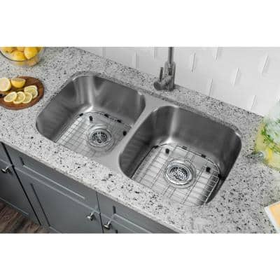 Undermount 18-Gauge Stainless Steel 29-3/8 in. 0-Hole 50/50 Double Bowl Kitchen Sink with Grid Set and Drain Assemblies