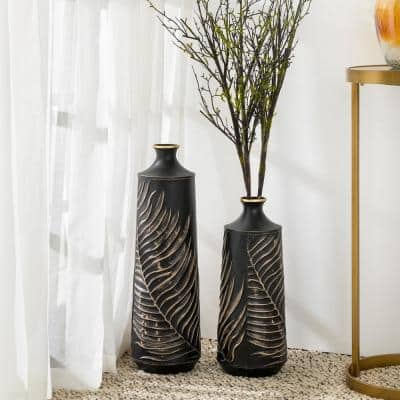 Boho Elegant Decorative Metal Table/Floor Vases (Set of 2)
