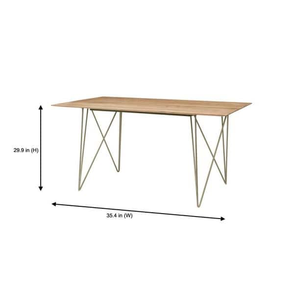 Home Decorators Collection Delavan Pecan Brown Finish Rectangular Dining Table For 6 With Golden Metal Hair Pin Base 63 In L X 29 92 In H Bt0305full The Home Depot