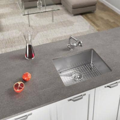 Undermount Stainless Steel 23 in. Single Bowl Kitchen Sink with Additional Accessories