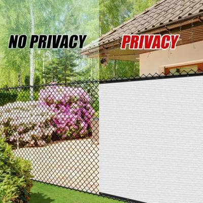 6 ft. x 50 ft. White Privacy Fence Screen Mesh Fabric Cover Windscreen with Reinforced Grommets for Garden Fence