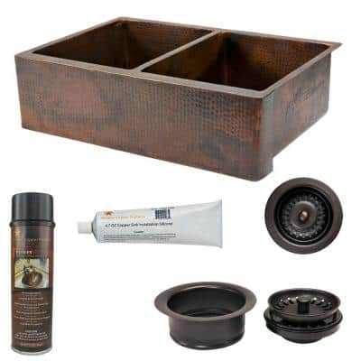 Undermount Hammered Copper 33 in. 0-Hole Double Bowl Kitchen Sink and Drain in Oil Rubbed Bronze