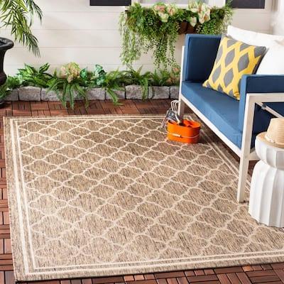 Courtyard Brown/Bone 9 ft. x 12 ft. Geometric Indoor/Outdoor Area Rug
