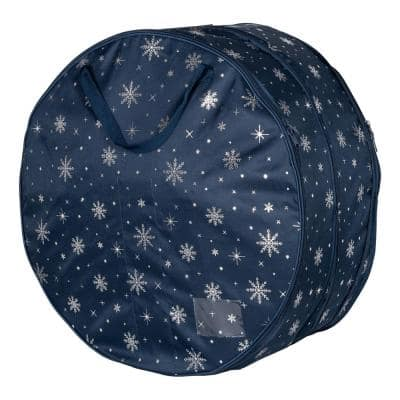 36 in. Wreath Storage Bag in Navy Blue and Silver