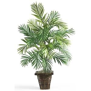 38 in. Faux Areca Palm Silk Plant with Wicker Basket