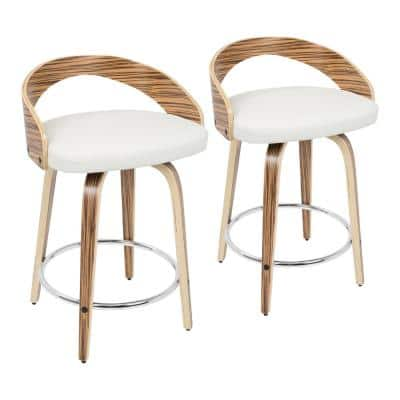 Grotto 24 in. Natural and White Faux Leather Counter Stool (Set of 2)