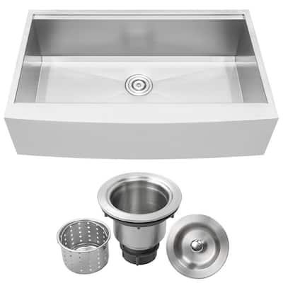 Bryce Zero Radius Farmhouse Apron Front 16-Gauge Stainless Steel 36 in. Single Basin Kitchen Sink with Basket Strainer