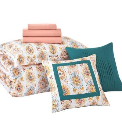 Lane Medallion Twin/Twin XL Bed in a Bag Comforter Set with Sheets and Decorative Pillows