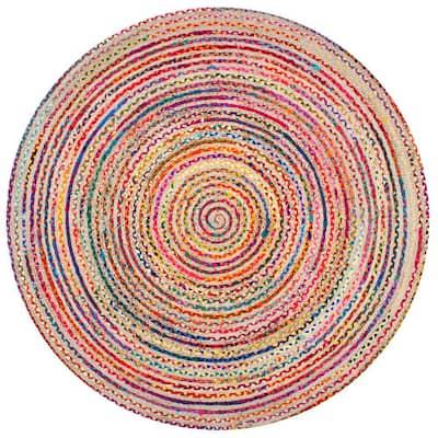 Aleen Bohemian Braided Stripes Jute Multi 8 ft. x 8 ft. Round Rug
