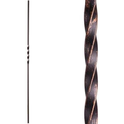 Twist and Basket 44 in. x 0.5 in. Oil Rubbed Bronze Single Twist Solid Wrought Iron Baluster