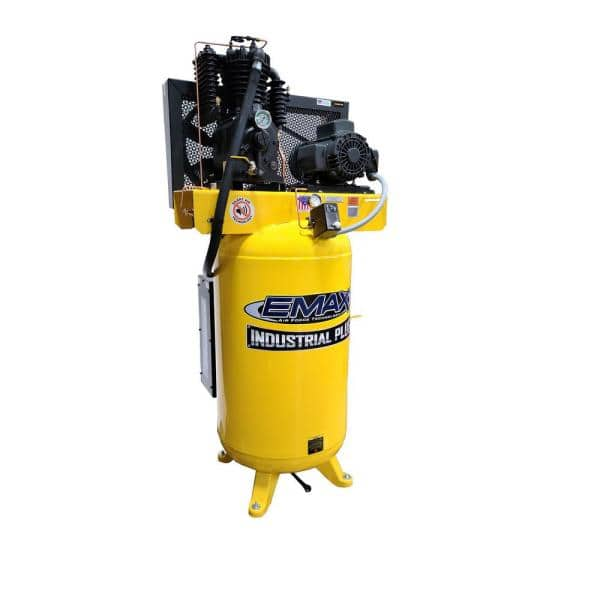 Emax Industrial Plus 80 Gal 5 Hp 1 Phase Silent Air Electric Air Compressor With Pressure Lubricated Pump Hsp05v080i1 The Home Depot