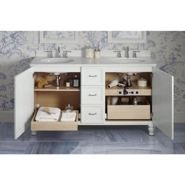 Kohler 18 In Adjustable Shelf With Electrical Outlets For 30 In Tailored Vanities With 1 Door And 3 Drawers In Natural Maple K 99678 Sh8 1wr The Home Depot