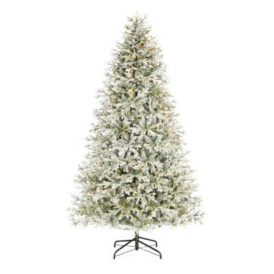 9 ft Kenwood Fraser Fir Flocked Pre-Lit LED Artificial Christmas Tree with 1200 Warm White Micro Dot Lights